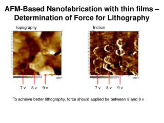 AFM-Based Nanofabrication with thin films – Determination of Force for Lithography