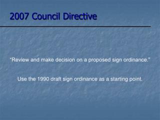 2007 Council Directive