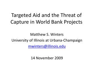 Targeted Aid and the Threat of Capture in World Bank Projects