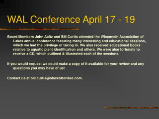 WAL Conference April 17 - 19