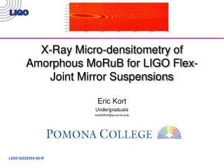 X-Ray Micro-densitometry of Amorphous MoRuB for LIGO Flex-Joint Mirror Suspensions