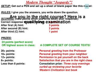 """Modern Thought """"Jeopardy""""!"""