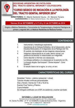 SOCIEDAD ARGENTINA DE PATOLOGÍA  DEL TRACTO GENITAL INFERIOR Y COLPOSCOPÍA