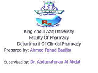 King Abdul Aziz University Faculty Of Pharmacy Department Of Clinical Pharmacy