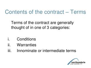 Contents of the contract   Terms