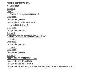 RED DE COMPUTADORAS Concepto.  Afiche  1 REDES Red de área local o LAN (título). Concepto.
