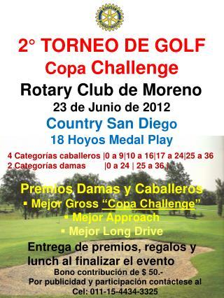 2° TORNEO DE GOLF Copa  Challenge