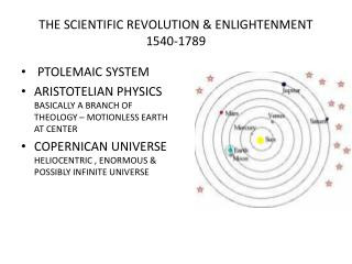 THE SCIENTIFIC REVOLUTION  ENLIGHTENMENT 1540-1789