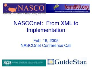 NASCOnet:  From XML to Implementation