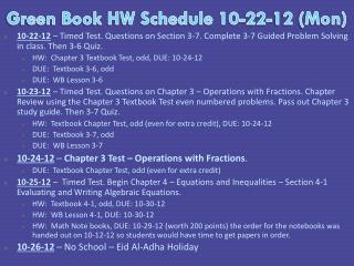 Green Book HW Schedule  10-22-12  (Mon)
