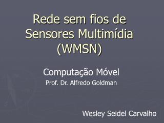 Rede sem fios de Sensores Multimídia  (WMSN)