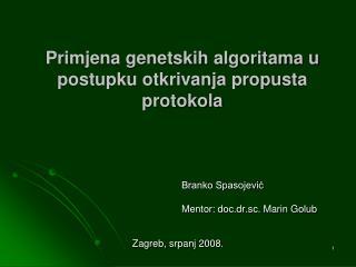 Primjena genetskih algoritama u postupku otkrivanja propusta protokola