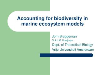 Accounting for biodiversity in marine ecosystem models