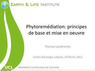 Phytoremédiation : principes de base et mise en  oeuvre