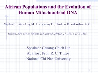 African Populations and the Evolution of Human Mitochondrial DNA