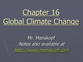 Chapter 16 Global Climate Change