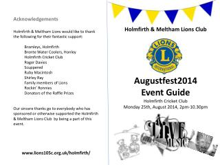 Holmfirth  & Meltham  Lions  Club Augustfest2014 Event Guide Holmfirth Cricket Club