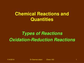 Chemical Reactions and Quantities