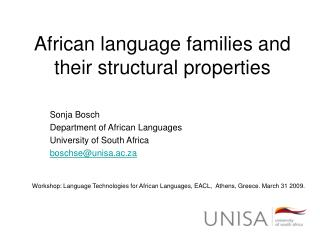 African language families and their structural properties