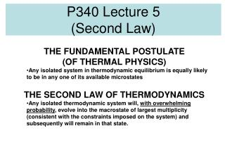 P340 Lecture 5 (Second Law)