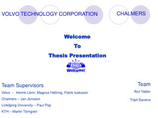 Welcome  To  Thesis Presentation