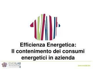 Efficienza Energetica: Il  contenimento dei consumi energetici in  azienda
