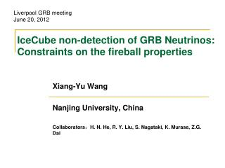 IceCube non-detection of GRB Neutrinos: Constraints on the fireball properties