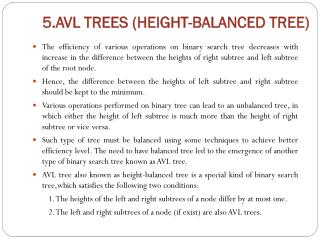 5.AVL TREES (HEIGHT-BALANCED TREE)