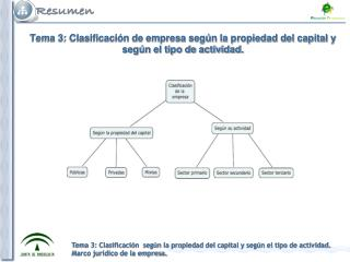 Tema 3: Clasificación de empresa según la propiedad del capital y según el tipo de actividad.