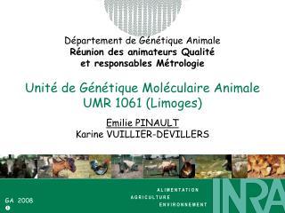 Département de Génétique Animale Réunion des animateurs Qualité  et responsables Métrologie