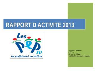 RAPPORT D ACTIVITE 2013