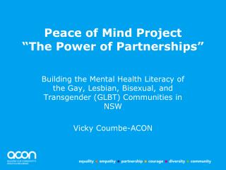 "Peace of Mind Project ""The Power of Partnerships"""