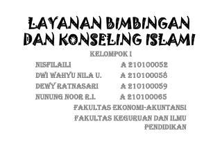 LAYANAN BIMBINGAN DAN KONSELING ISLAMI
