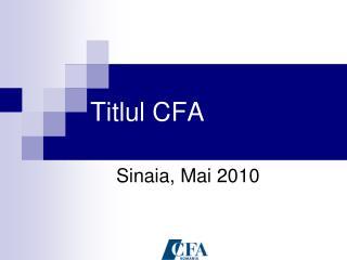 Titlul CFA