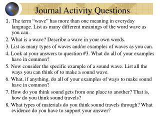 Journal Activity Questions