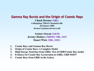 Cosmic Rays and Gamma Ray Bursts Origin of Cosmic Rays: A Complete Model