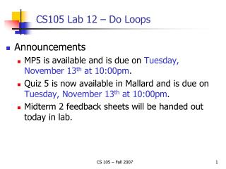 CS105 Lab 12 – Do Loops