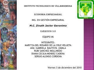 INSTITUTO TECNOLOGICO DE VILLAHERMOSA   ECONOMIA EMPRESARIAL  ING. EN GESTIÓN EMPRESARIAL