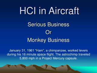 HCI in Aircraft