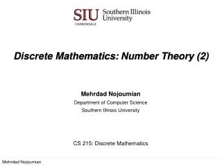 Discrete Mathematics:  Number Theory (2)