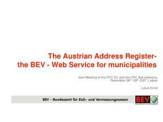 The Austrian Address Register- the BEV - Web Service for municipalities