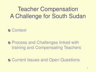 Teacher Compensation A Challenge for South Sudan