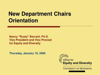 New Department Chairs Orientation