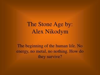 The Stone Age by:  Alex Nikodym