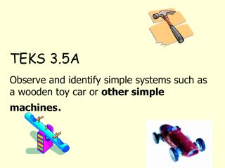 TEKS 3.5A Observe and identify simple systems such as a wooden toy car or  other simple machines .