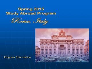 Spring 2015 Study Abroad Program