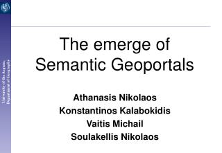 The emerge of Semantic Geoportals