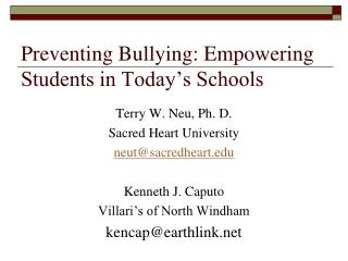 Preventing Bullying: Empowering Students in Today's Schools