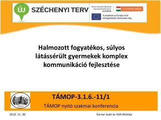 TÁMOP-3.1.6.-11/1 TÁMOP nyitó szakmai konferencia