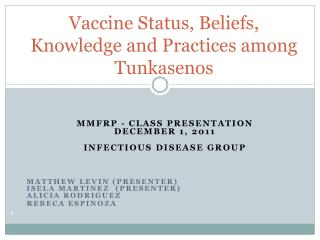 Vaccine Status, Beliefs, Knowledge and Practices among Tunkasenos